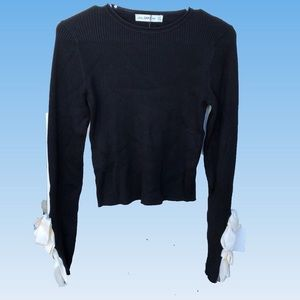Zara Sexy Cropped Black LS Rib Knit Size Small
